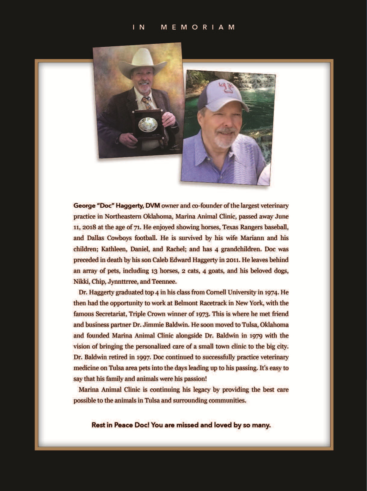 A tribute article to beloved Dr. Haggerty
